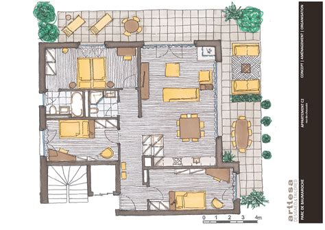 c plans appartement c2 parc de baumaroche