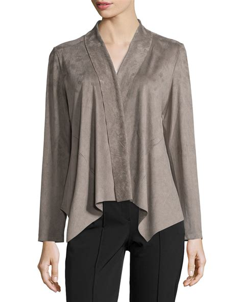 draped suede jacket bagatelle draped faux suede jacket in gray lyst