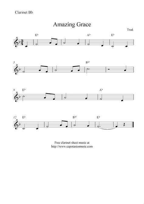 printable sheet music for clarinet amazing grace free clarinet sheet music notes
