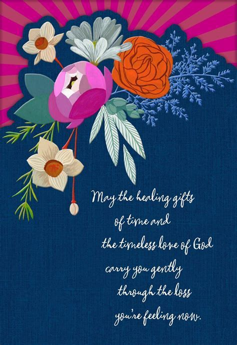Healing Flowers Religious Sympathy Card   Greeting Cards
