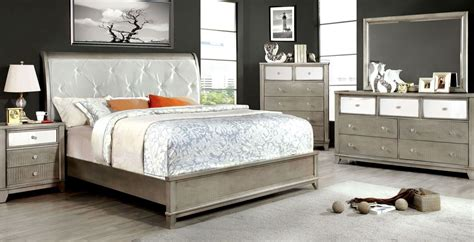 bedroom furniture silver bryant silver crocodile leatherette bedroom set from