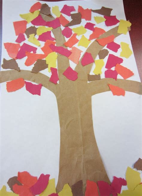 Construction Paper Fall Crafts - autumn tree cut the tree from a paper grocery bag glue