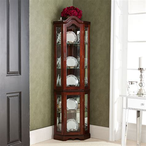 southern enterprises lighted corner curio cabinet in rich mahogany finish 653 8 curio cabinets collection 950175 32 5 quot corner