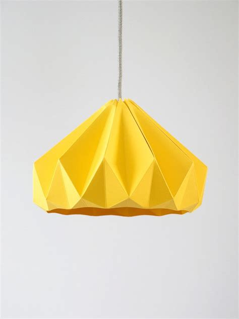 Paper Pendant Shade Chestnut Origami Hanging Paper L Shade Pendant Light Gold Yellow Origami Paper And Yellow