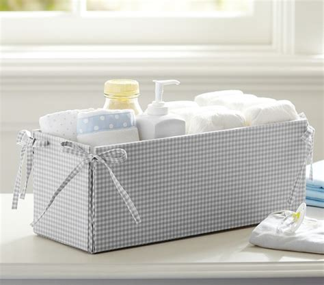 changing table with storage gray gingham changing table storage pottery barn