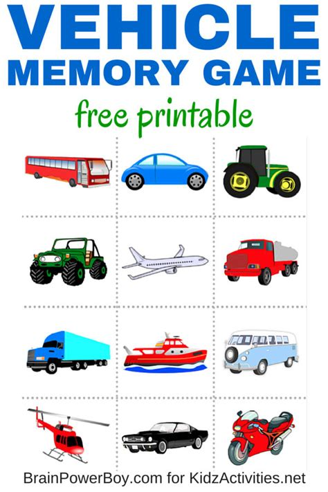 printable games for kids robot memory game free free printable vehicle memory game kidz activities