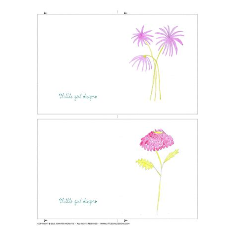 printable mini flowers watercolor flower mini cards printable little girl designs