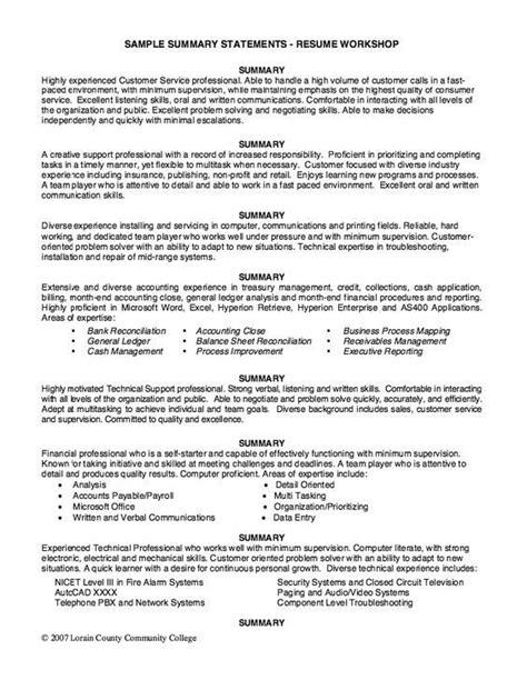 Resume Background Summary Exles by Resume Background Summary Exles Exles Of Resumes