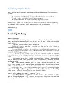 Project Work Written Report Sample Narrative Report In Reading Samples