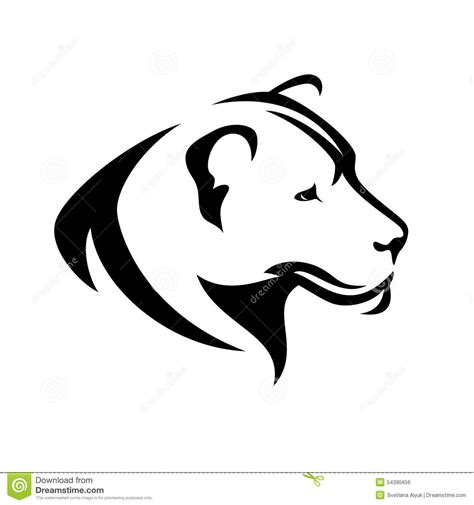 lioness profile stock vector image 54395656
