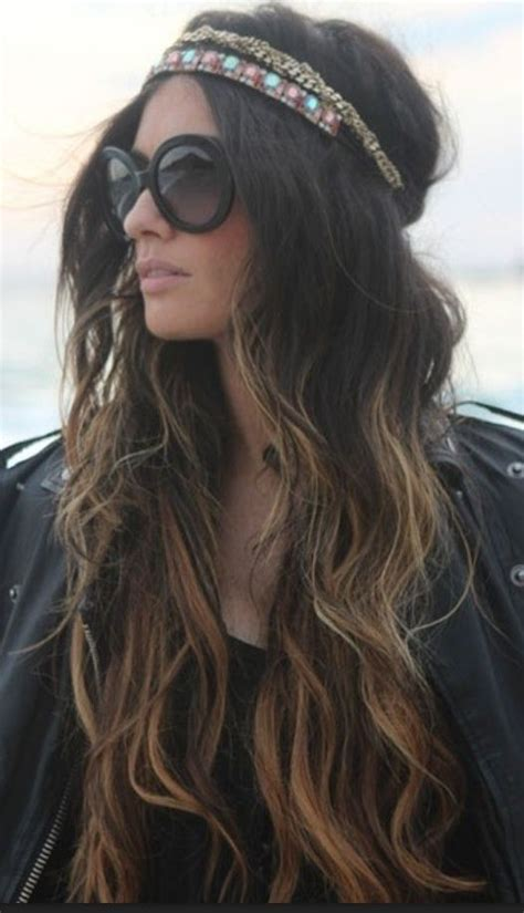 long hair equals hippie boho hippie chick with ombre wavy hair headband headpiece