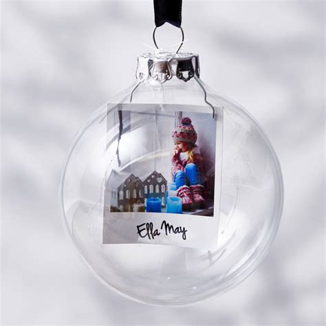 polaroid glass personalised christmas bauble by sophia