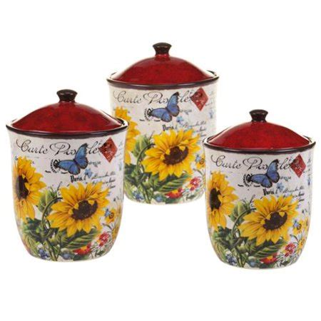 certified international sunflower meadow 3 pc canister set