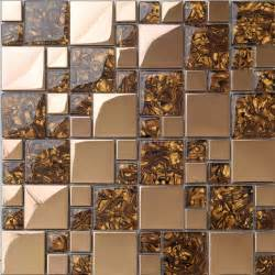 Metal Wall Tiles Kitchen Backsplash by Metal Mosaic Tile Golden Kitchen Backsplash Tile Bath Wall