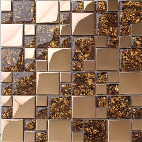 Mosaic Tile Backsplash Kitchen metal mosaic tile golden kitchen backsplash tile bath wall