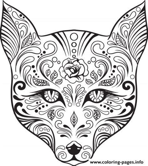 advanced cat coloring pages advanced cat sugar skull coloring pages printable