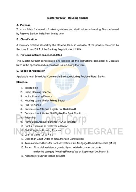 Letter Of Credit Master Circular Rbi Rbi Issued Master Circular Relating To Housing Finance On Banks