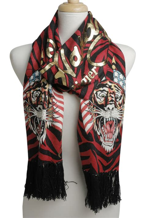 ed hardy black womens flag tiger knit scarf ebay