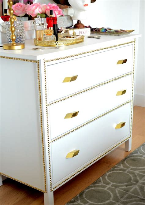 ikea makeover gold nailhead ikea dresser makeover before after