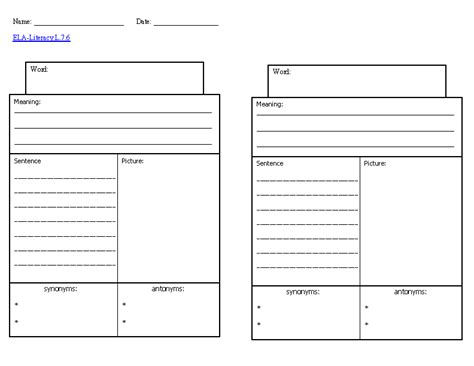vocabulary words worksheet template vocabulary knowledge template ela literacy l 7 6 language