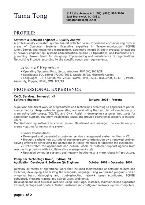 profesional resume format professional level resume sles resumesplanet