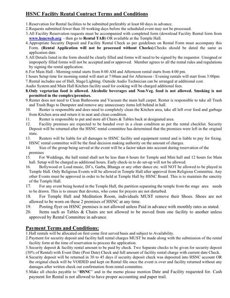contract terms and conditions template hsnc facility rental contract terms and conditions