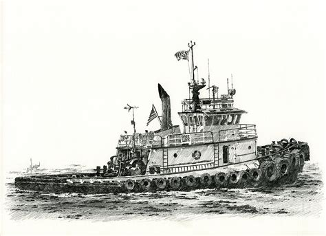 tugboat drawing tugboat shelley foss drawing by james williamson