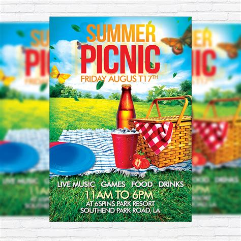 Summer Picnic Premium Flyer Template Facebook Cover Exclsiveflyer Free And Premium Psd Free Church Picnic Flyer Templates