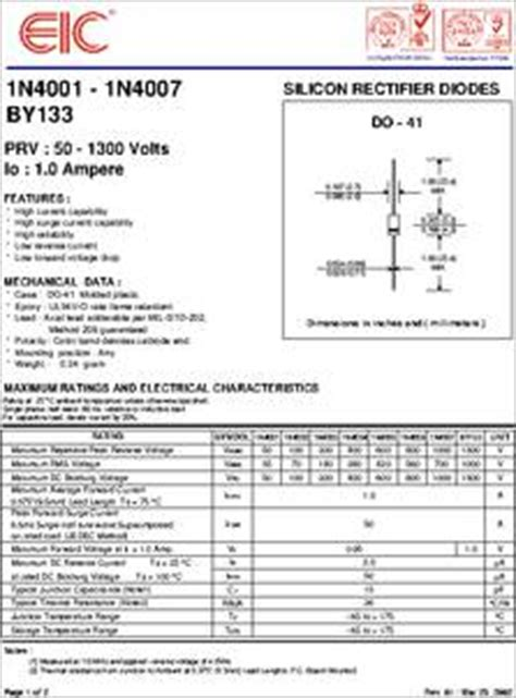 diode data sheets free 1n4004 datasheet silicon rectifier diodes