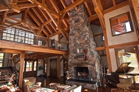 Livingroom Lamp Timber Frame House In Colorado Eclectic Living Room