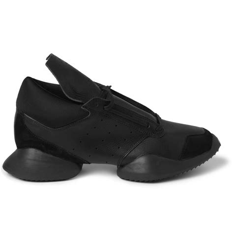 Adidas Rubber Black rick owens adidas leather and rubber sneakers in black for lyst