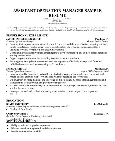 Assistant Operations Manager Sle Resume by Operations Assistant Manager Resume 28 Images Operations Assistant Cover Letter Sle