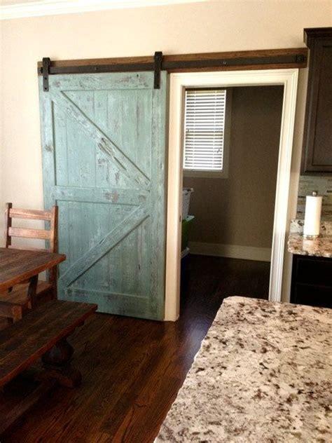sliding barn door reclaimed pine turquoisewhite