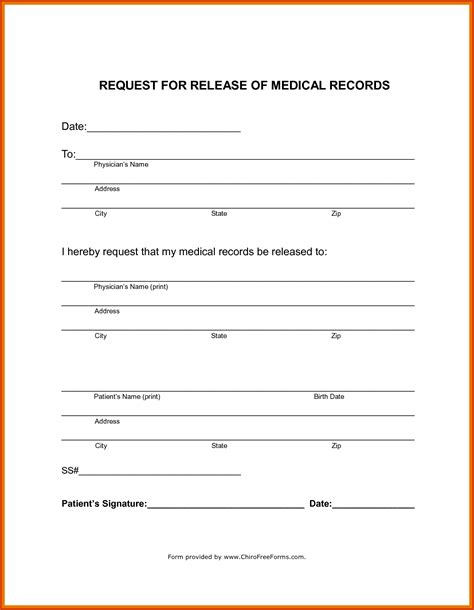 Letter Release Of Records Records Release Form Records Release Form Template Free Printable