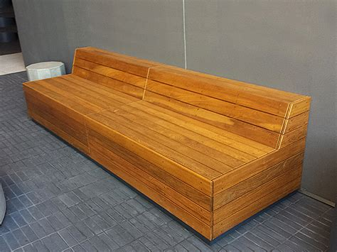 Wood Banquette by Benches Ernsdorf Design Concrete Pit Bowls