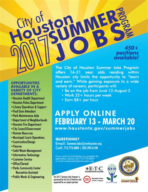 Applications For Programme Now Open 2 by Applications Now Open For City Of Houston Summer