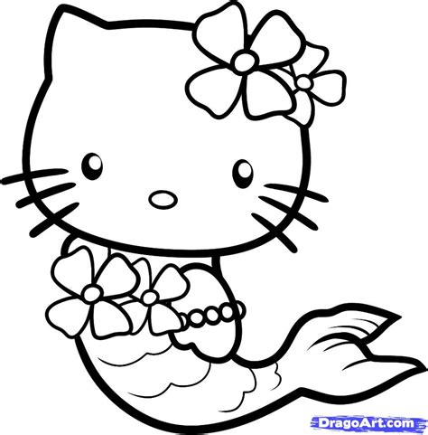 How To Draw Mermaid Hello Kitty Step By Step Characters Pop Culture Free Online Drawing Drawing Pages
