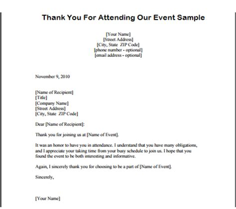 Thank You Letter For Attending Thank You For Attending Our Event Exle Archives Sle Letter