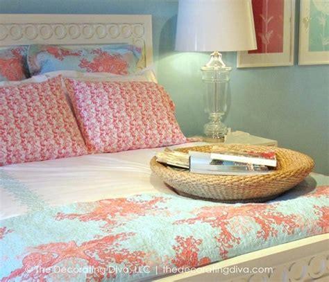 color inspiration summery aqua coral bedding decorating diva