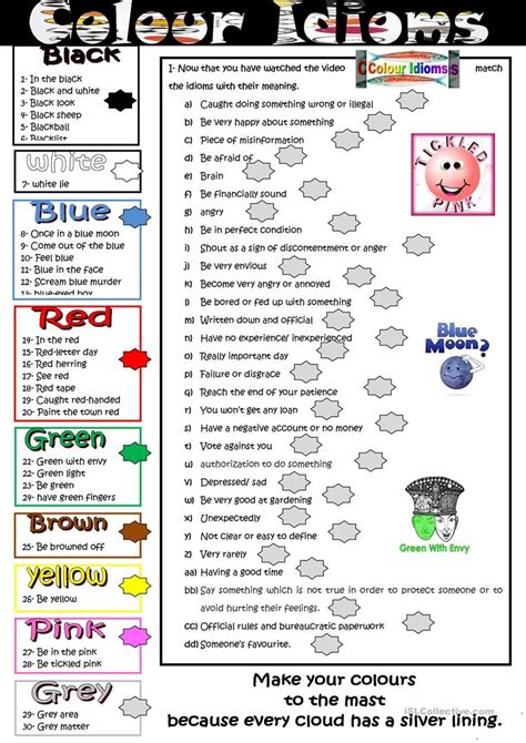color idioms colour idioms worksheet free esl printable worksheets