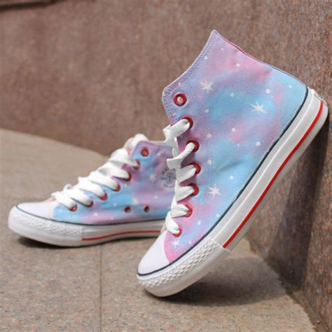 pink pattern tie dye painted high top canvas