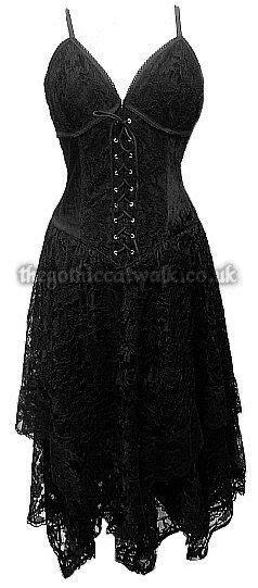 nice Black Lace & Velvet Gothic Corset Dress   Women's Gothic   Goth style   Gothic corset