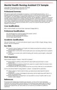 mental health nursing assistant cv sle myperfectcv