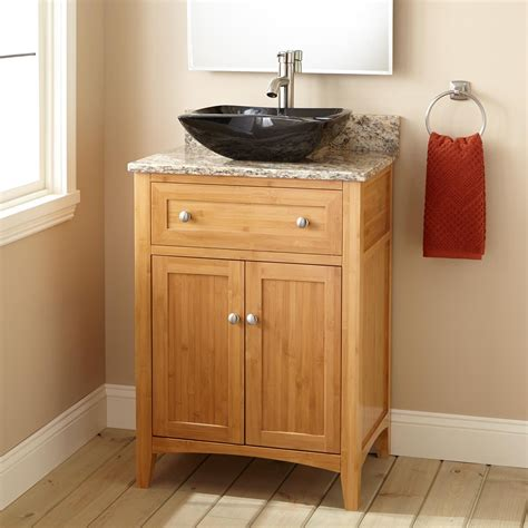 narrow depth bathroom vanities 24 quot narrow depth halifax bamboo vessel sink vanity