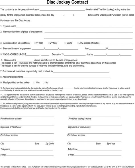 How To Make A Dj Contract Picture Tomyumtumweb Com Mobile Dj Contract Template