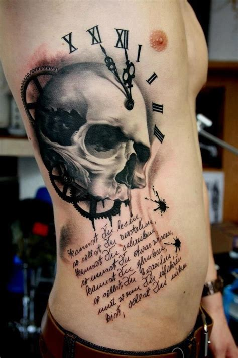 skull clock tattoo i m not a fan of the itself but the detail