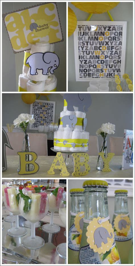 Yellow And Grey Elephant Baby Shower Decorations by Modern Baby Shower Decor Best Baby Decoration