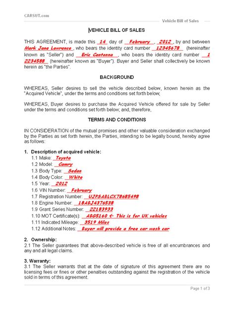 free auto bill of sale template with contract agreementte and bill