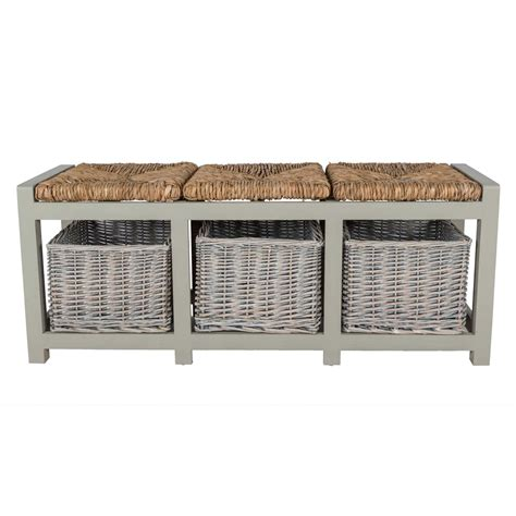 bench with wicker baskets grey wooden bench with wicker baskets two three seater