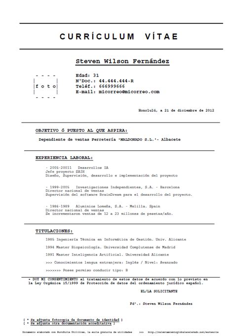 Modelo De Curriculum Vitae Basico Ejemplo Formulario Modelo Para Curriculum Vitae Modelo B 225 Sico Sencillo De Curriculo Eurosuite